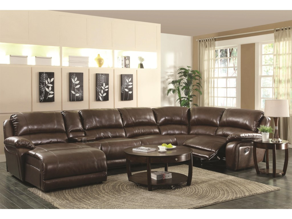 coaster mackenzie chestnut piece reclining sectional sofa with products color mirrored accent table ikea farm trestle dining matching living room furniture bistro and chairs