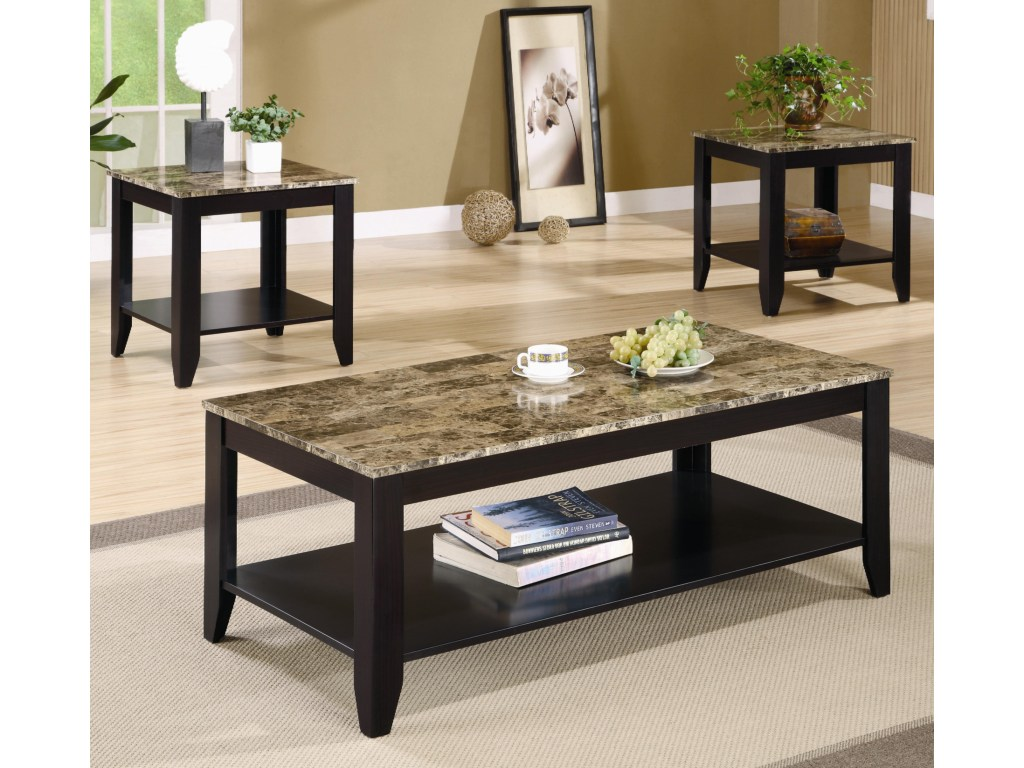 coaster occasional table sets piece set with products color living room accent shelf and marble look top home goods bedside tables very small side sage green furniture cupboard