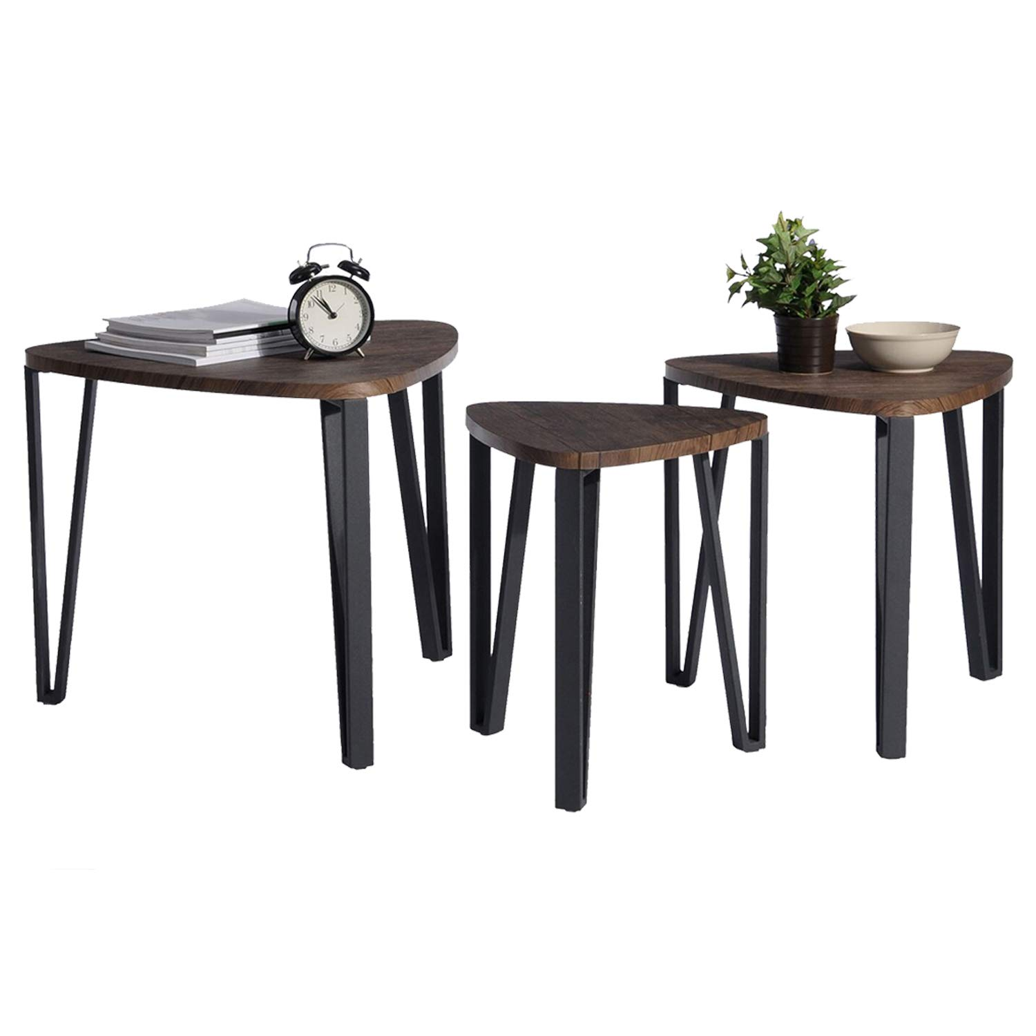 coavas vintage nesting coffee table set for living room round accent industrial stacking end side leisure wood night stand telephone home office receving pier one outdoor