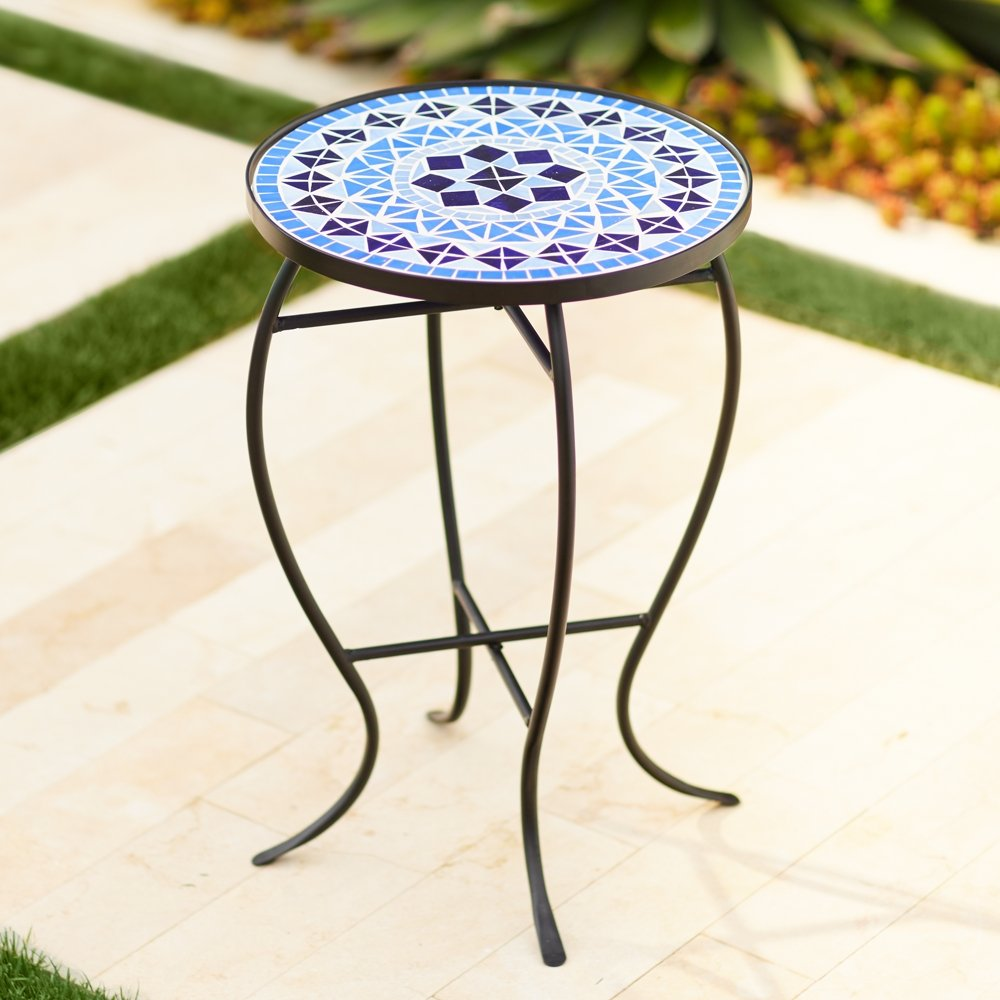 cobalt mosaic black iron outdoor accent table computer with barn door hourglass pantry battery operated lamp timer setting side tables for small spaces dining room chairs only