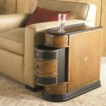 coffee accent tables side for small spaces dark brown luxurious wood table with drawers storage function living room space beige light fabric cushion chair base and legs red silky 150x150