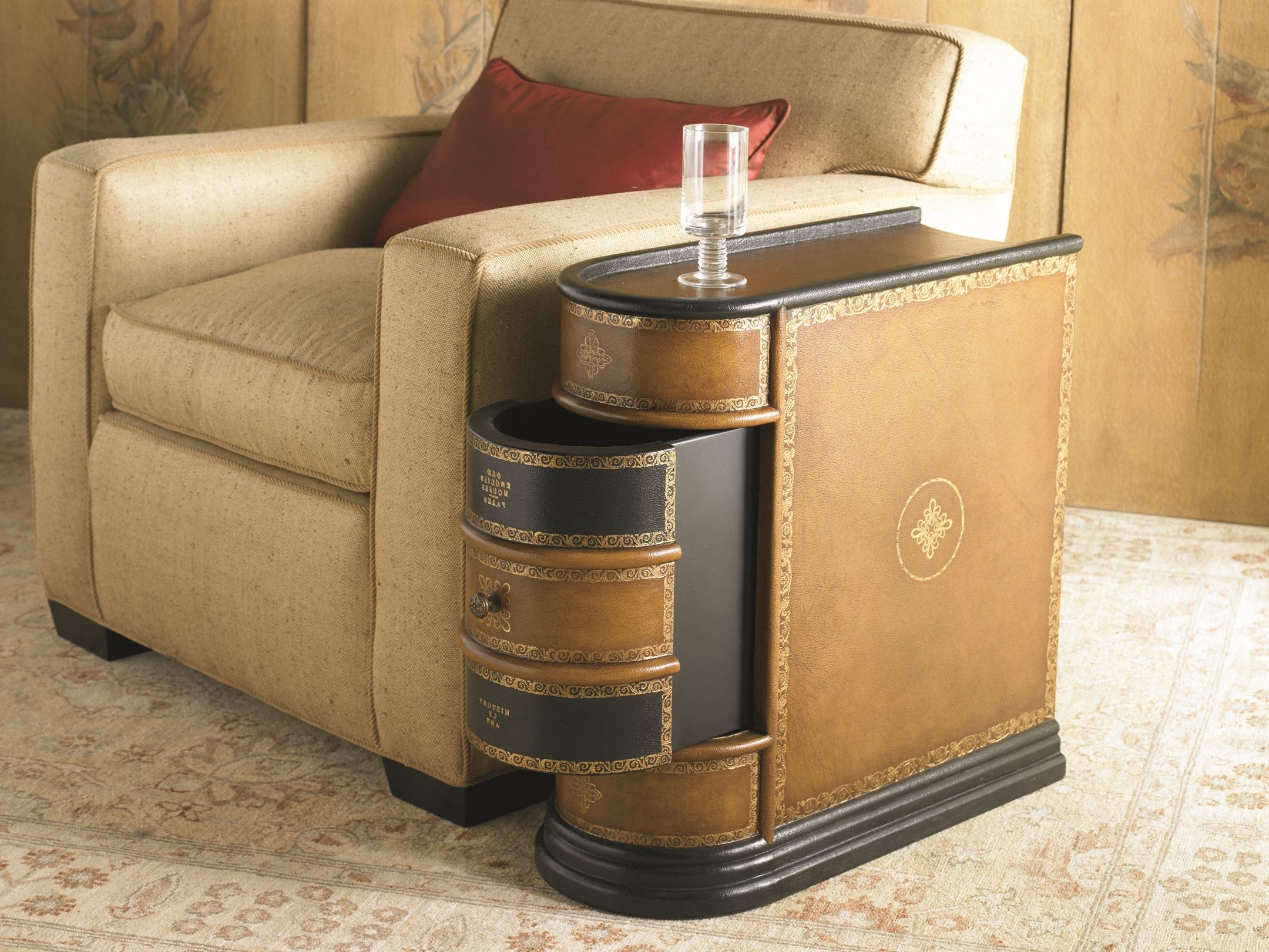 coffee accent tables side for small spaces dark brown luxurious wood table with drawers storage function living room space beige light fabric cushion chair base and legs red silky