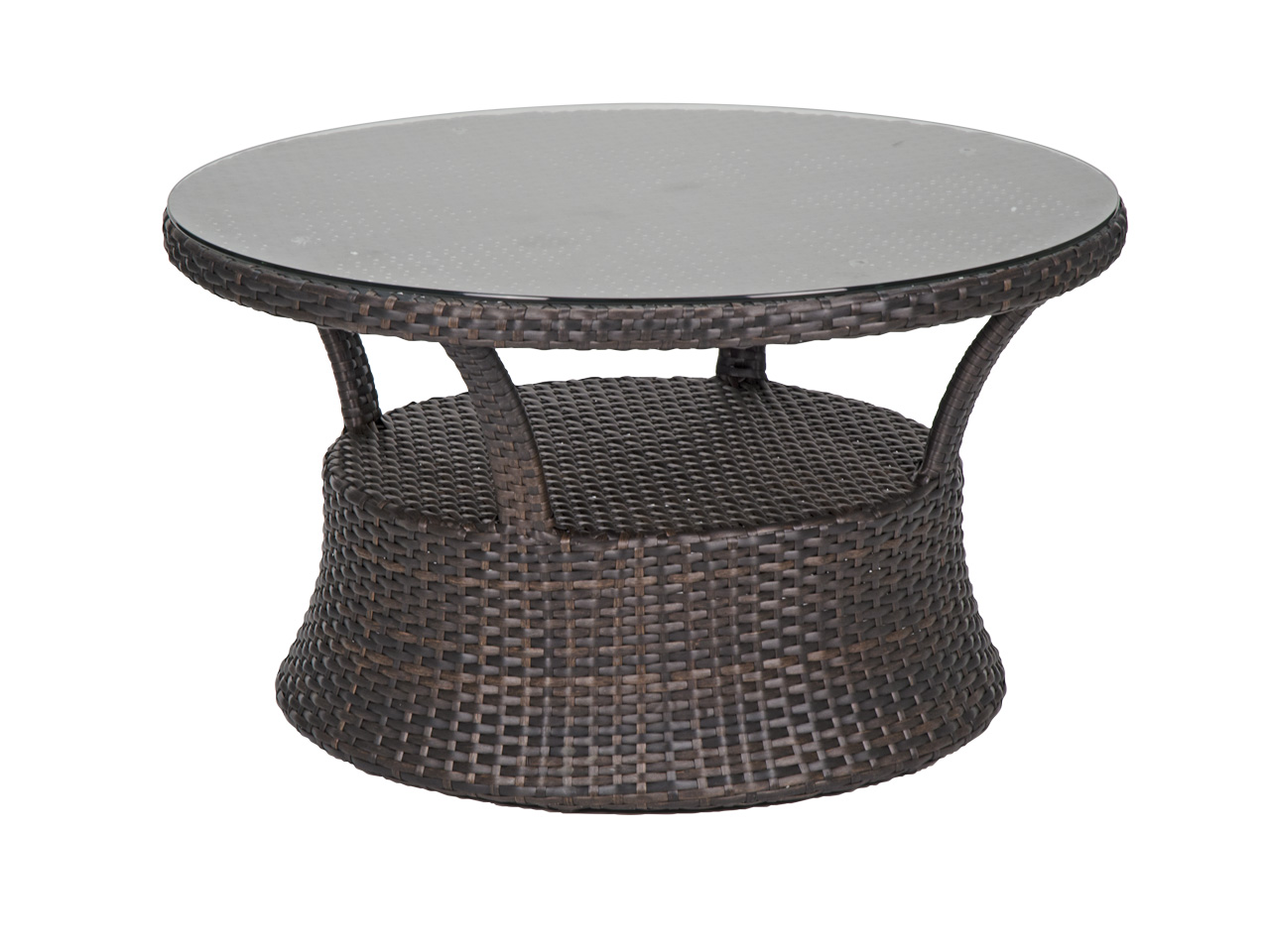 coffee and side tables fortunoff backyard wickr outdoor table aluminum san lucas round woven resin wicker glass top conversation chess maple grey linen tablecloth white high gloss