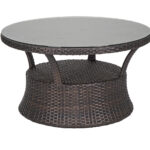 coffee and side tables fortunoff backyard wickr patio umbrella accent table san lucas round aluminum woven resin wicker glass top conversation outdoor dining chairs bunnings metal 150x150