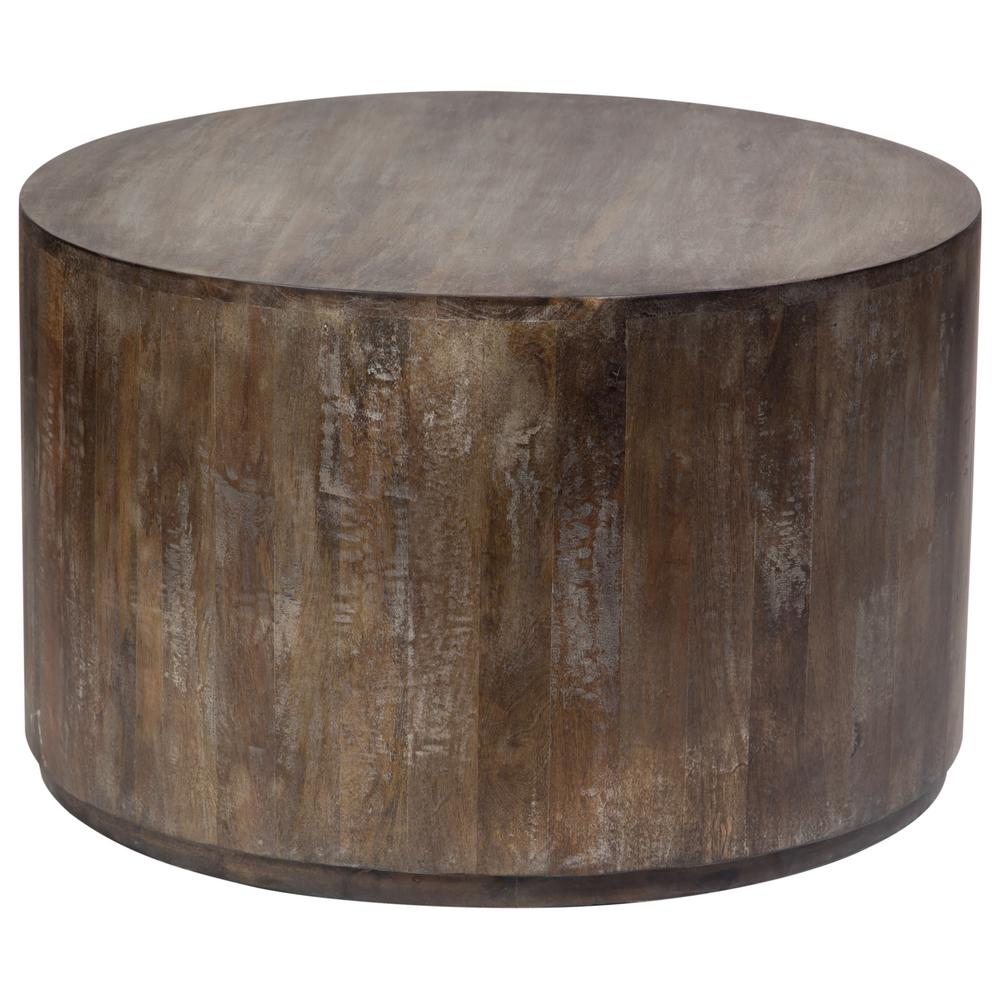coffee table bohemian accent tables living room furniture gray sets wash mango wood round drum white cloth tablecloths tiffany tree lamp spaces sliding barn door plans coral