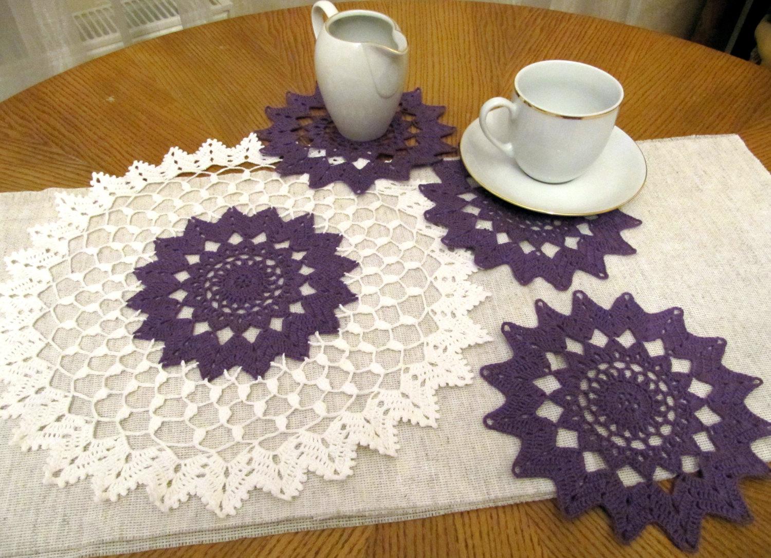 coffee table crochet purple doily set pcs small round mats full floor themed placemats matson and end doilies accent chairs for living room clearance white corner nightstand