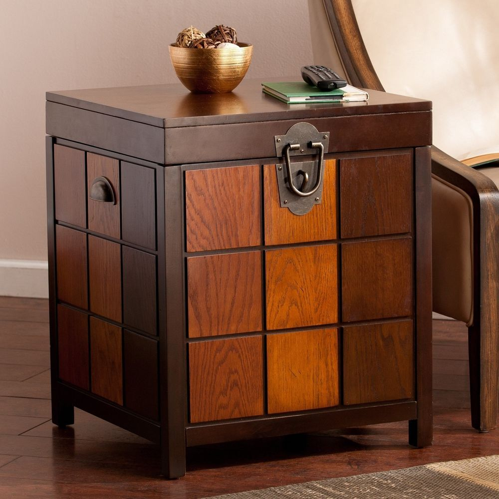 coffee table fridge the super beautiful wood trunk end side mission accent veneer storage living room furniture harperblvd round black wrought iron with glass top white and silver