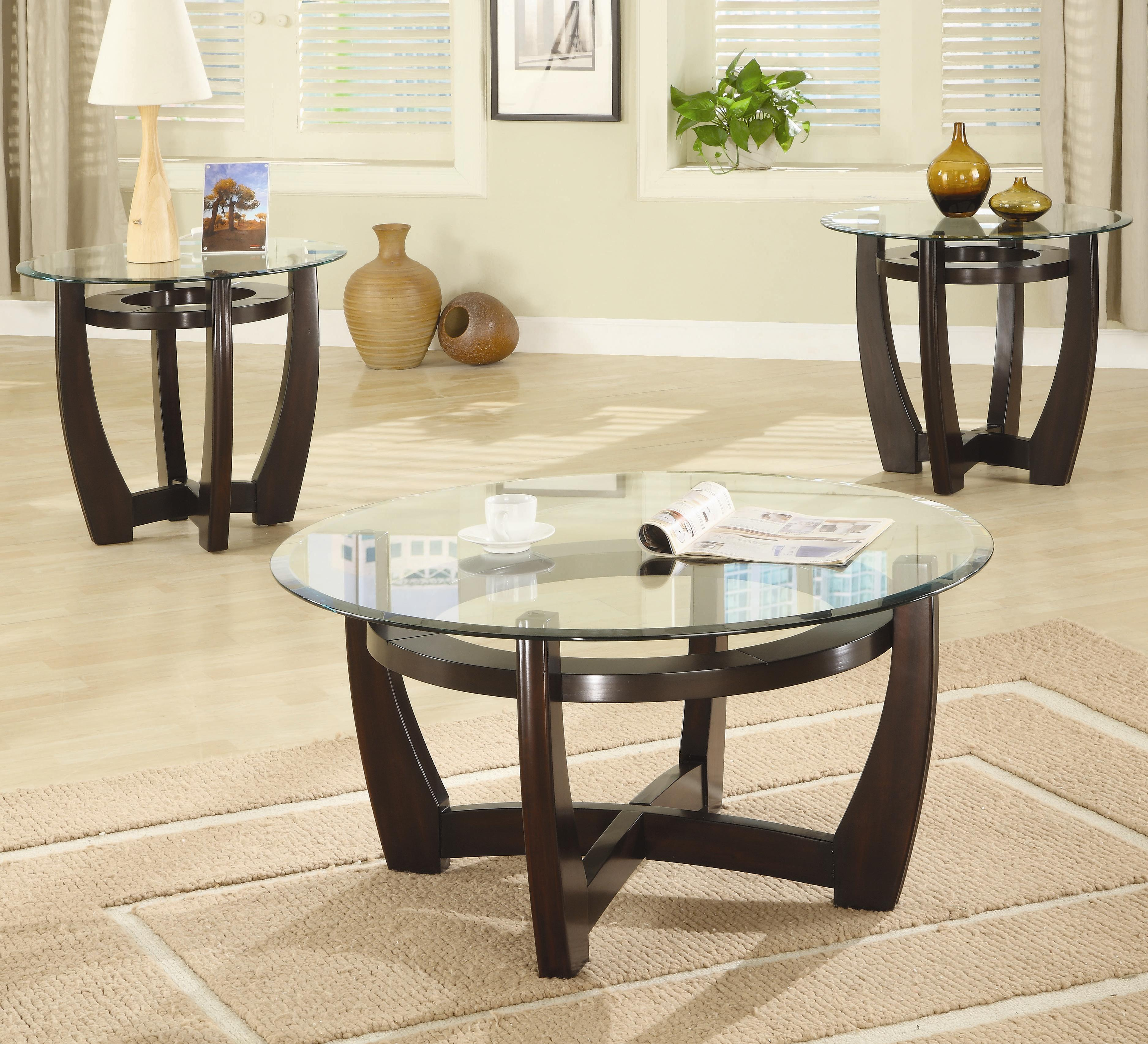 coffee table piece sets under stunning blackish brown round rustic glass and wood laminated ideas clearance accent tables tiffany leadlight lamps pier one rugs jcpenney floor