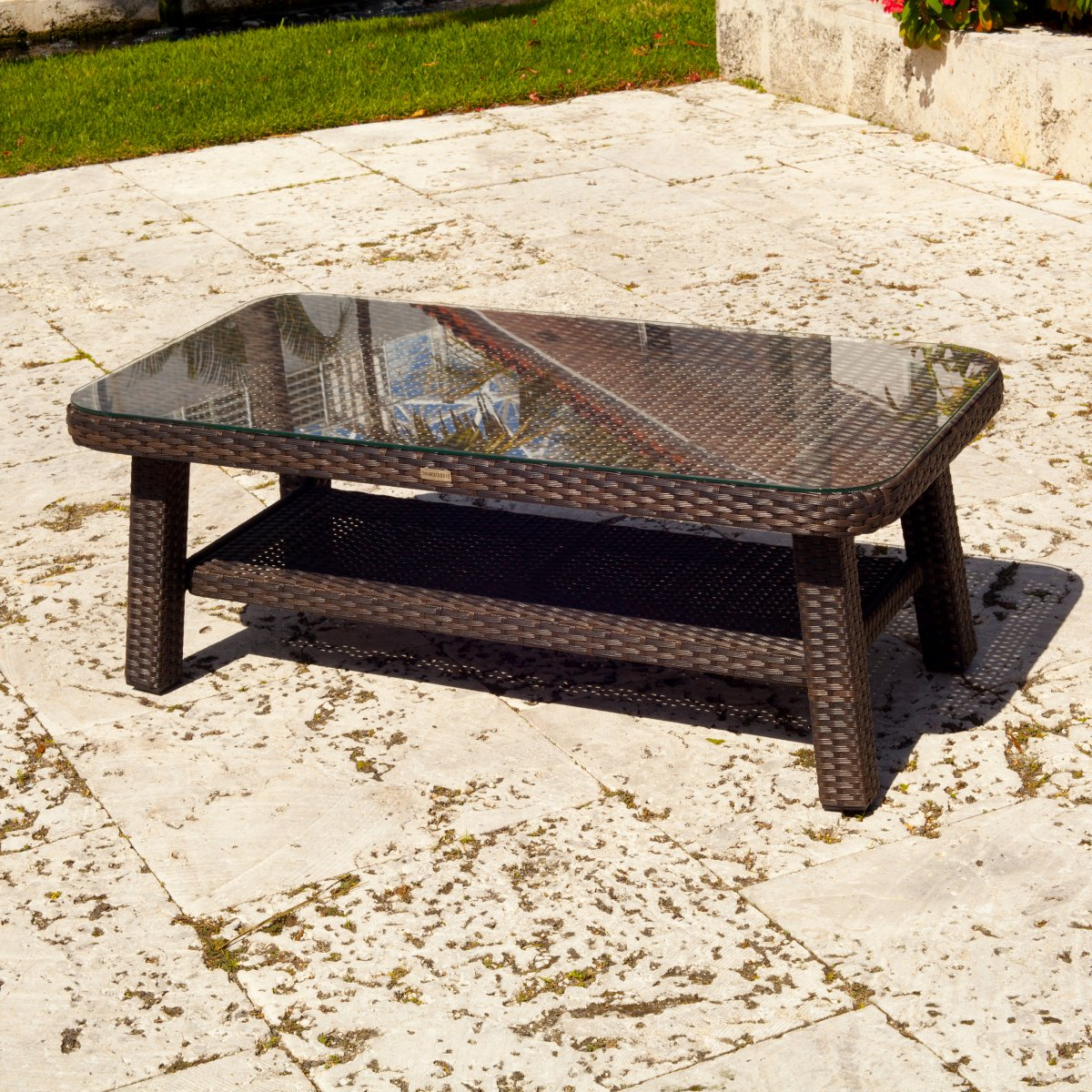 Glass Top Outdoor Side Table Grottepastenaecollepardo