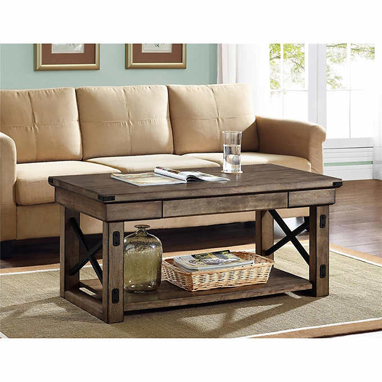 coffee table weathered beachwood round storage tables grey wood square for rustic accent shabby chic larg reclaimed and metal distressed trunk with wheels end game less leather