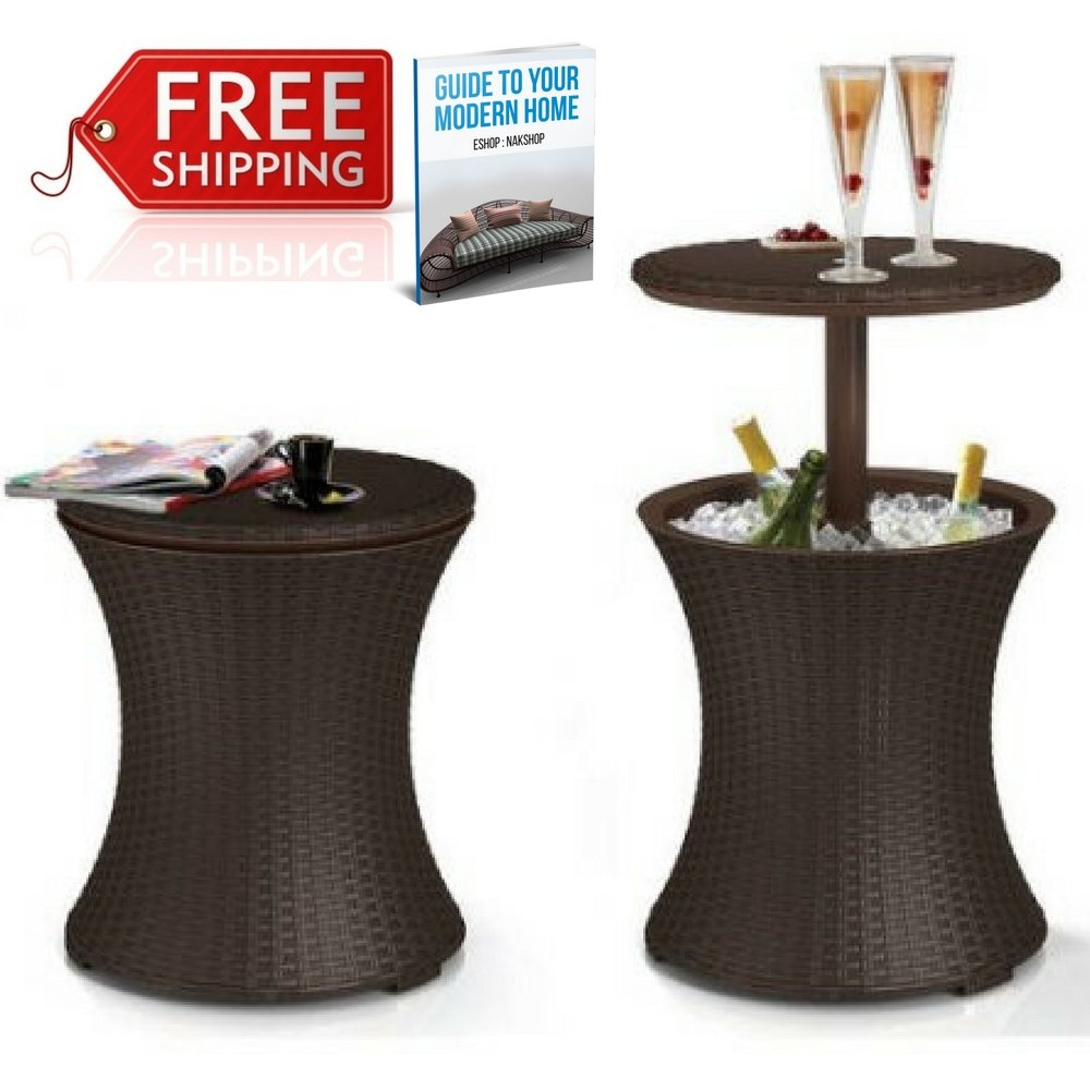 coffee table with ice bucket find outdoor side get quotations nak wicker cooler cool bar patio garden drinks poolside lawn and wood top acrylic lamp battery operated mini lamps