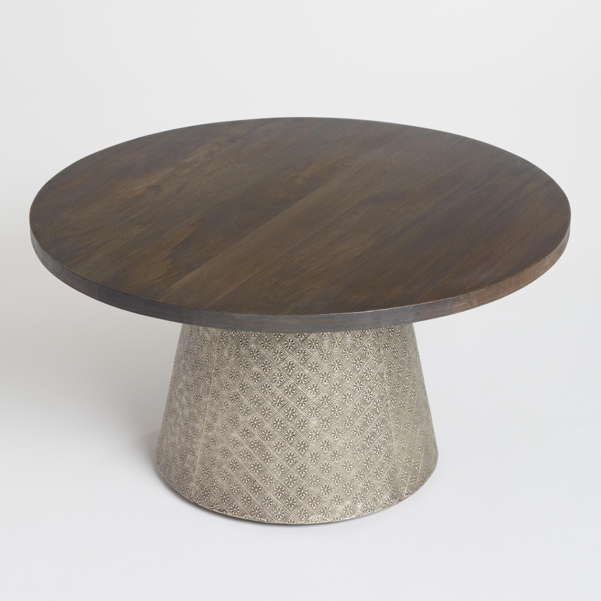 coffee tables end accent world market iipsrv fcgi gold wire table round wood and embossed metal kiran trim between carpet tile white ginger jar lamps black silver glass ikea
