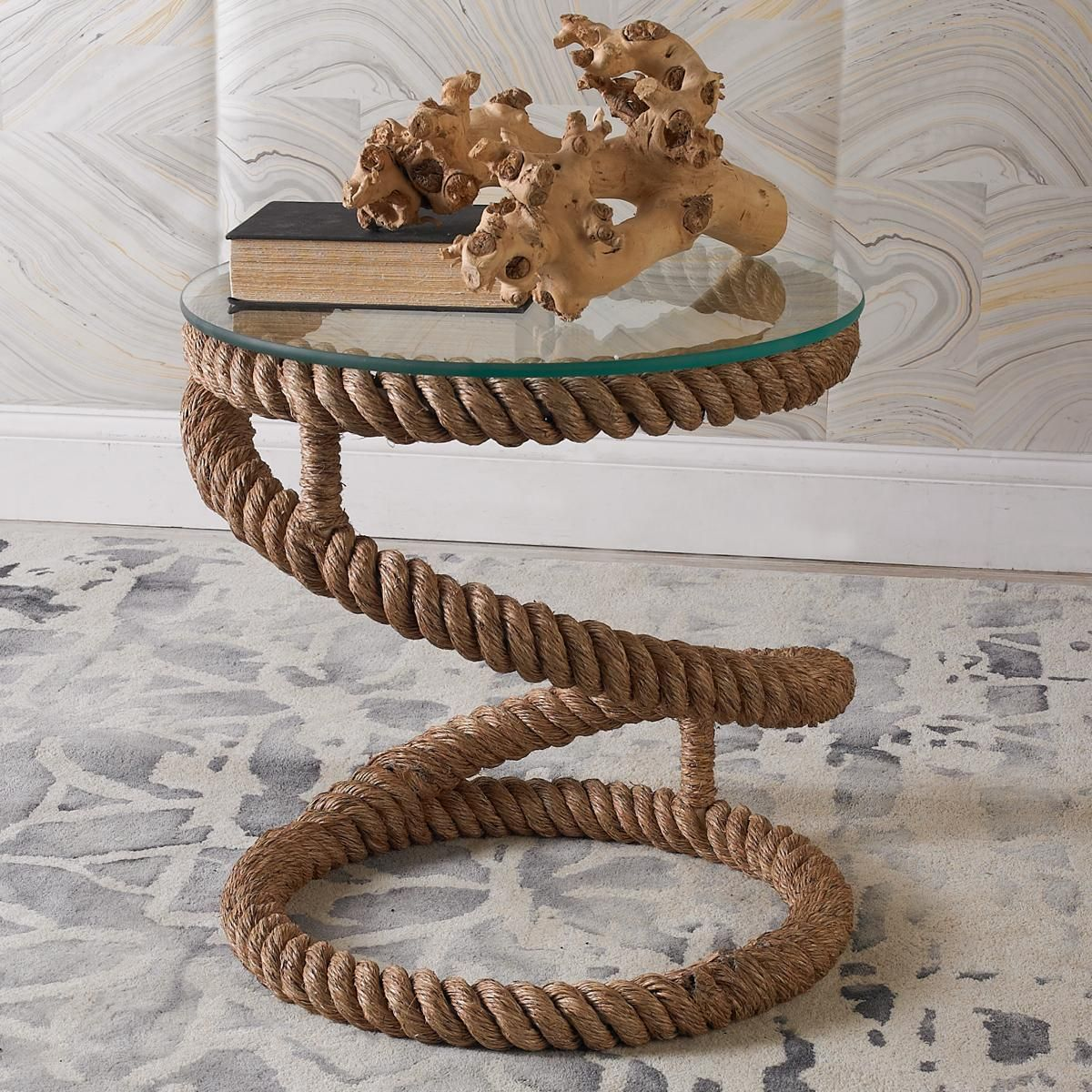 coiled jute rope end table bayside retreat bedford accent throw this based with removable glass top the perfect for modern casual coastal beige tablecloth pier dining room