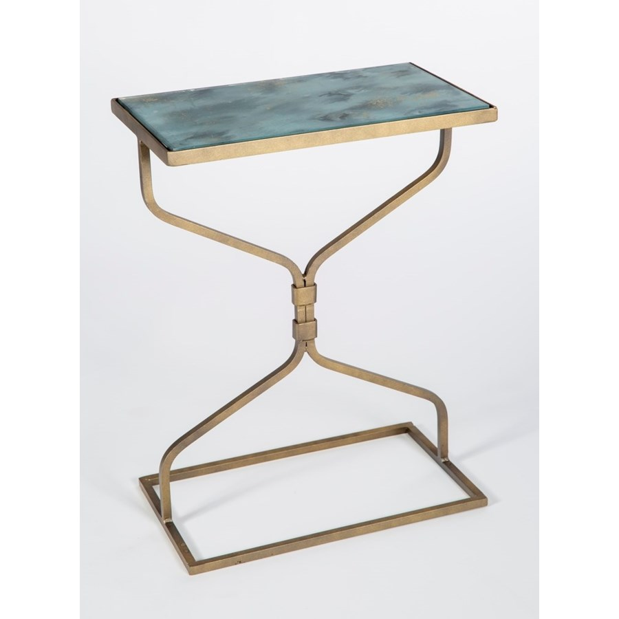 cole accent table antique gold with glass shelves smooth stone finish mirrored cabinets and chests living room storage units furnishing small spaces tall chairs low bedside desk
