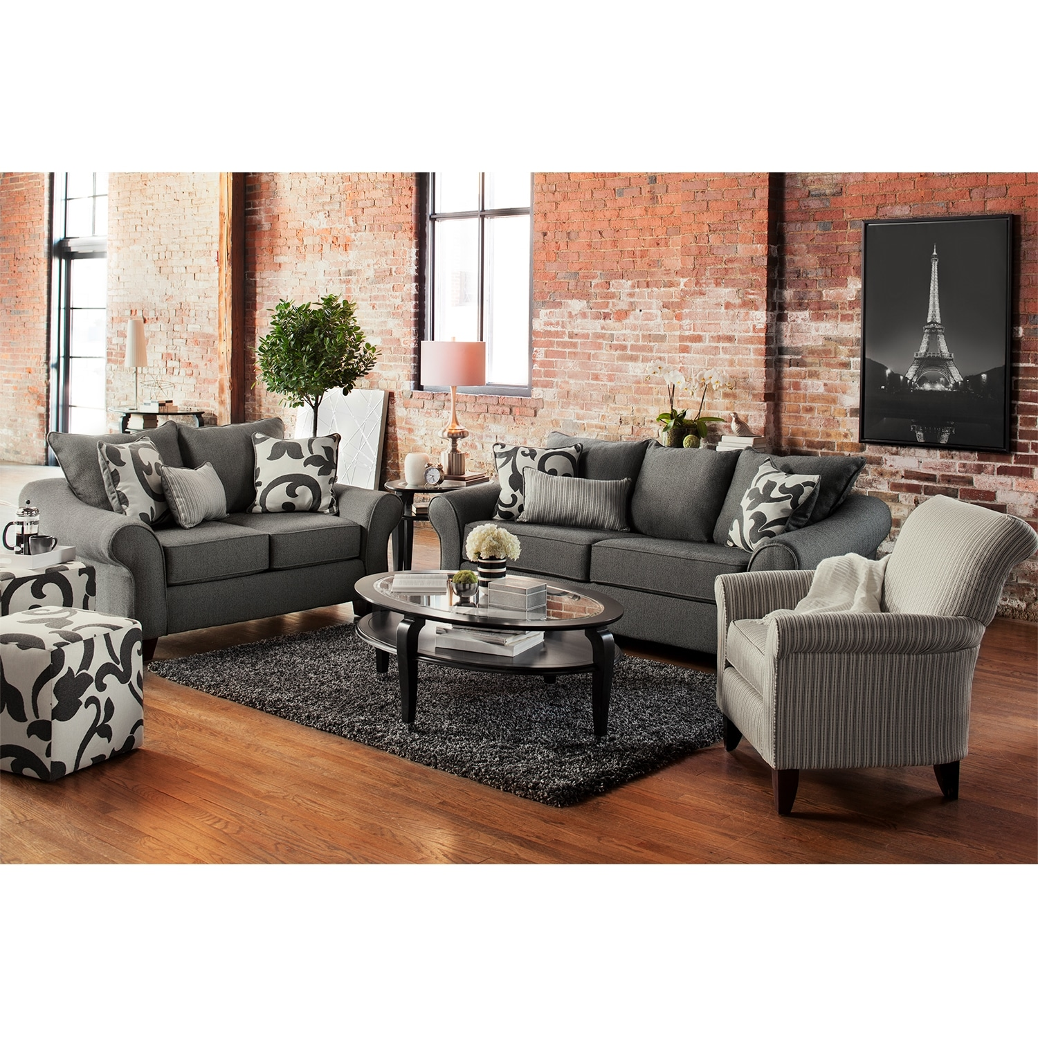 colette sofa loveseat and accent chair set gray with table hampton bay wicker mosaic top coffee outdoor dining clearance safavieh gold small storage box windham cabinet inch