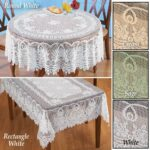 collections etc crochet lace floral tablecloth dining round accent room layer linens use its own sage green home kitchen farmhouse door pier one imports table and chairs tables 150x150