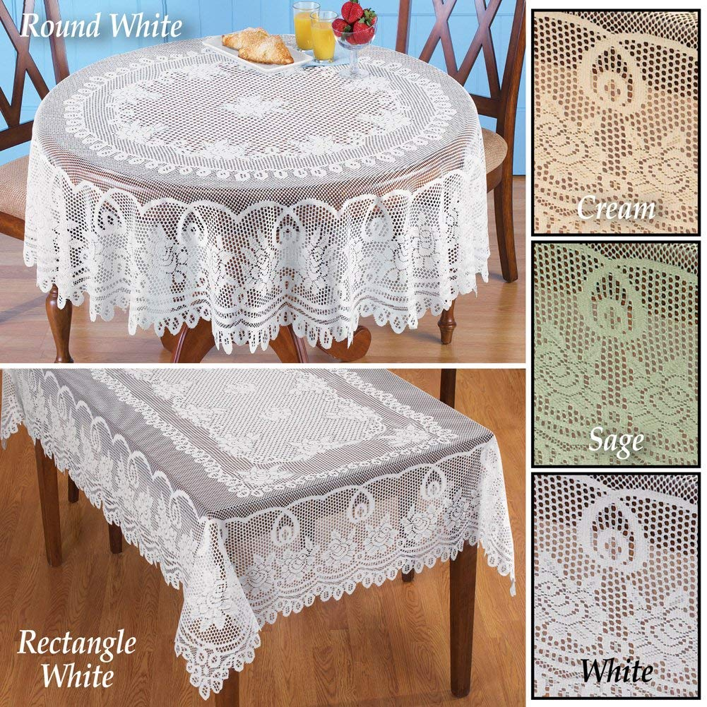 collections etc crochet lace floral tablecloth dining round accent room layer linens use its own sage green home kitchen farmhouse door pier one imports table and chairs tables