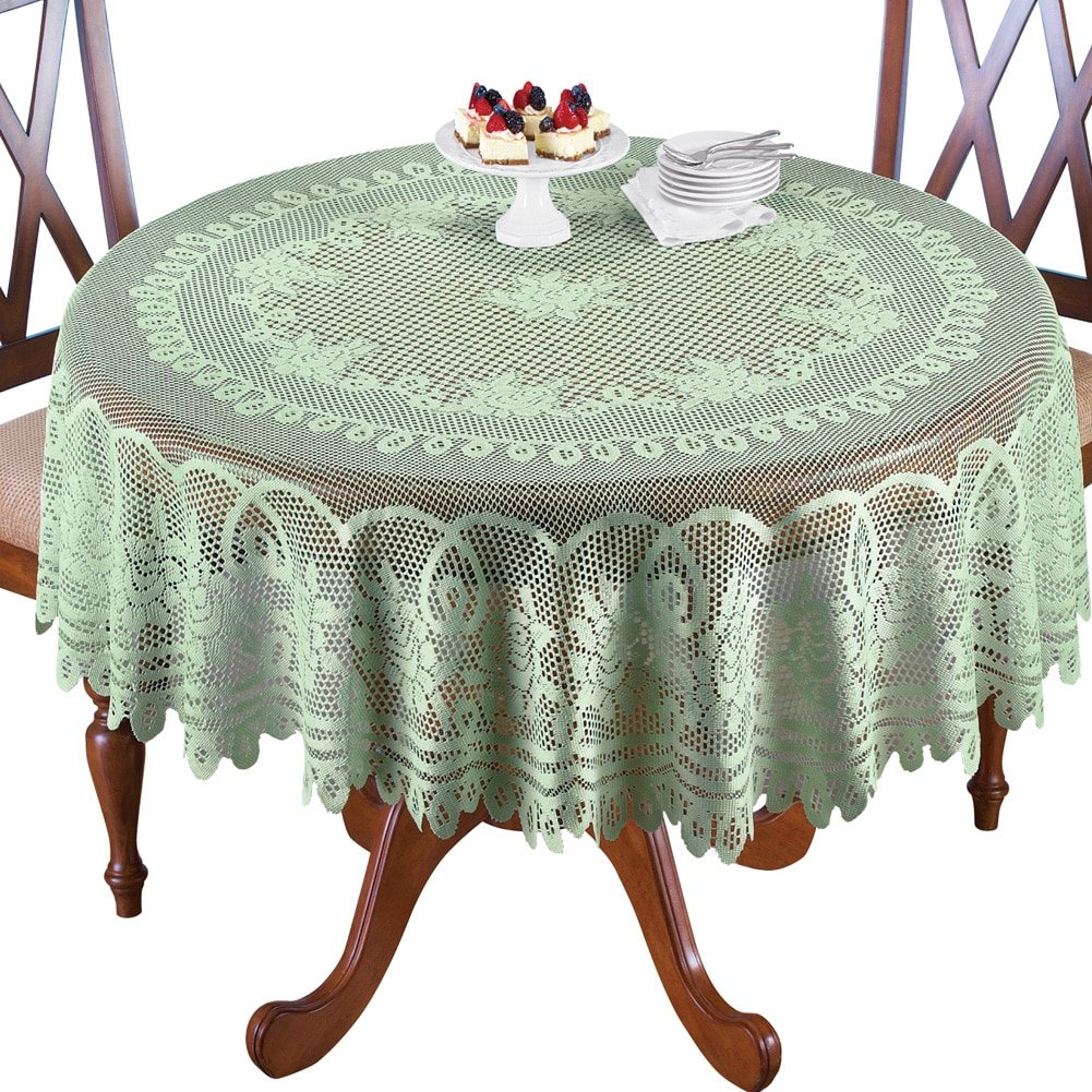 collections etc crochet lace floral tablecloth dining round accent room layer linens use its own sage green home kitchen glass lamp shades outdoor garden table battery standard