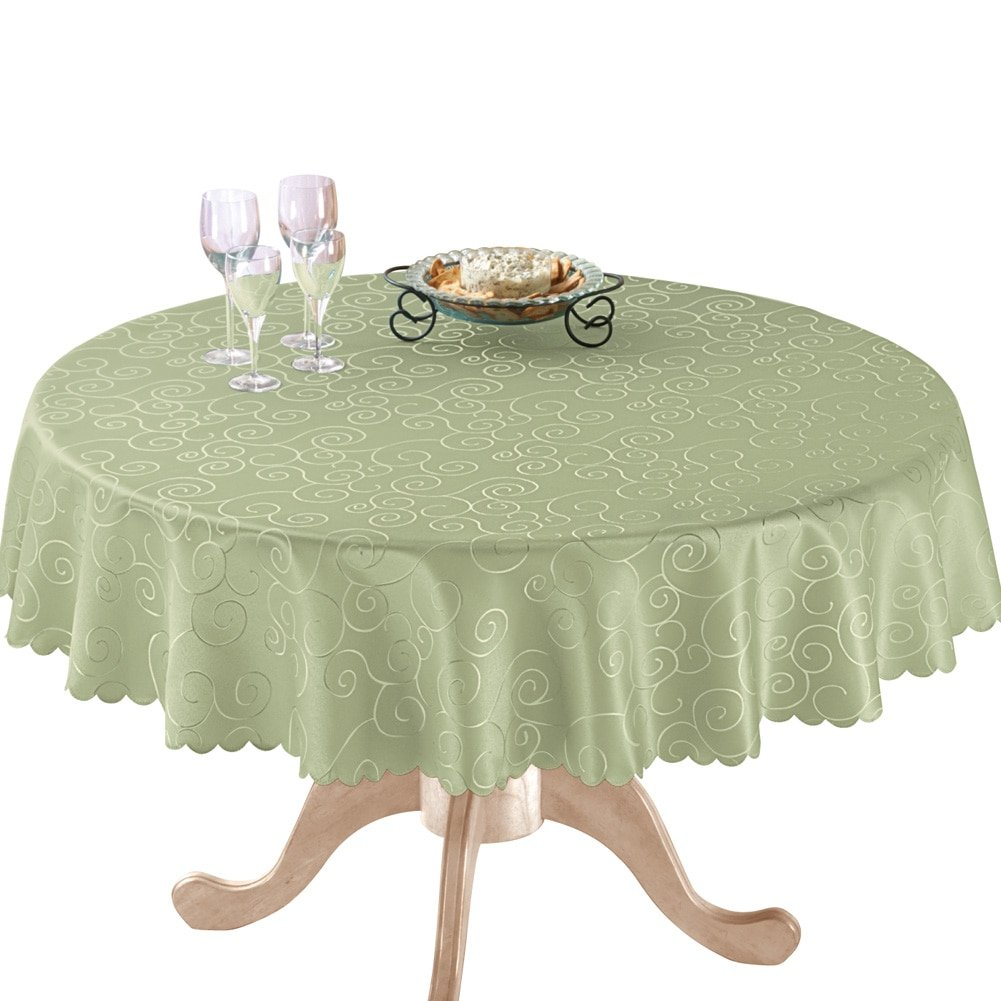 collections etc fancy scroll scalloped edge festive round accent tablecloth sage green home kitchen lawn furniture low coffee table with drawers junior drum stool nautical themed