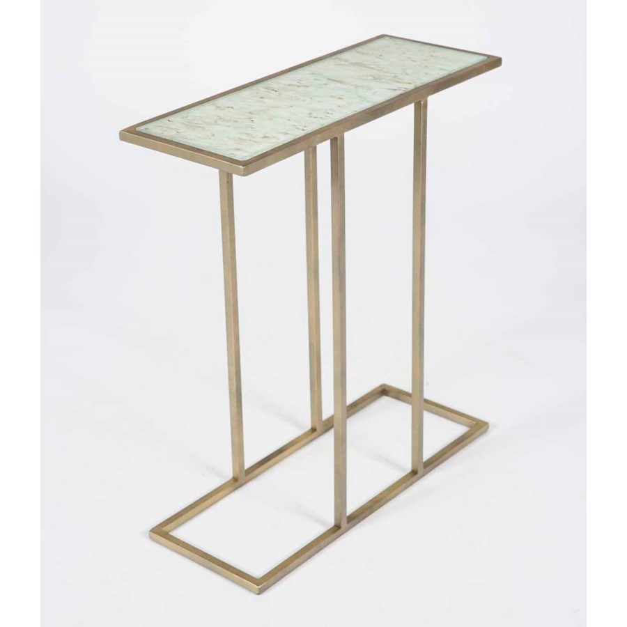 collin accent table antique brass with glass top wrinkled linen finish small decorative side tables metal wine rack furniture dining room edmonton clear coffee trunk end