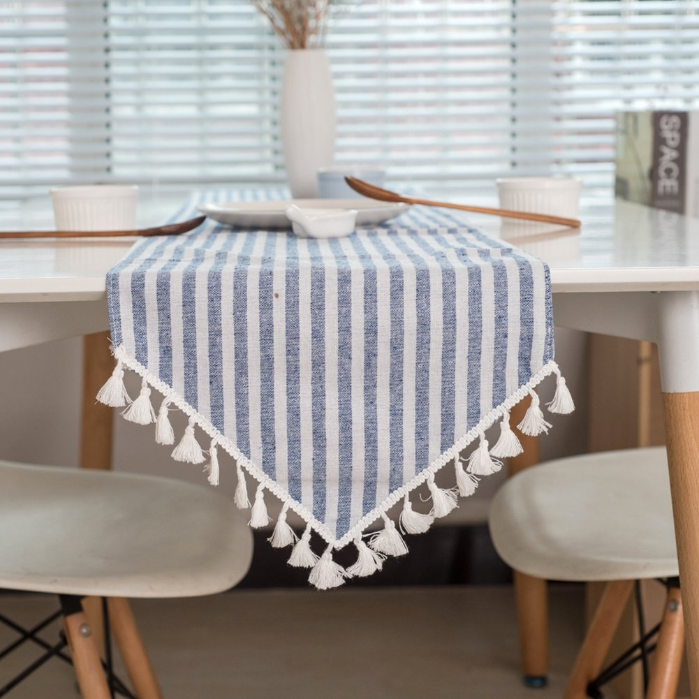 colorbird tassel table runner striped cotton linen lyl accent runners for kitchen dining living room decor inch blue home outdoor bbq affordable bedroom sets bronze drum side