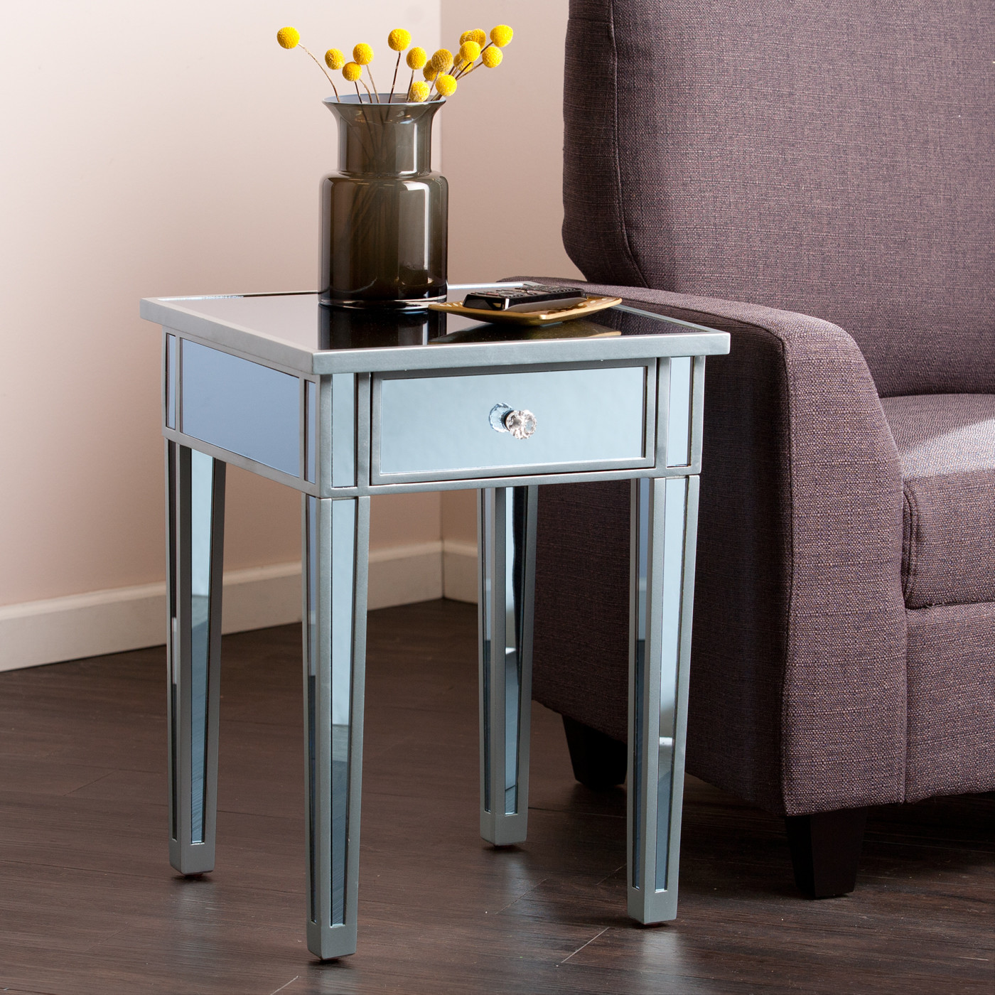 colorful small end tables interior design ideas tures shiny light blue accents single drawers unit glass table top rounded knob door flower vase mahogany wood flooring microfiber