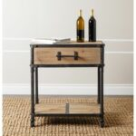 complete with wheels drawer and unique industrial pull handle this accent table end will flair your home whether rustic refined living delta faucets acrylic bedside wood gold side 150x150