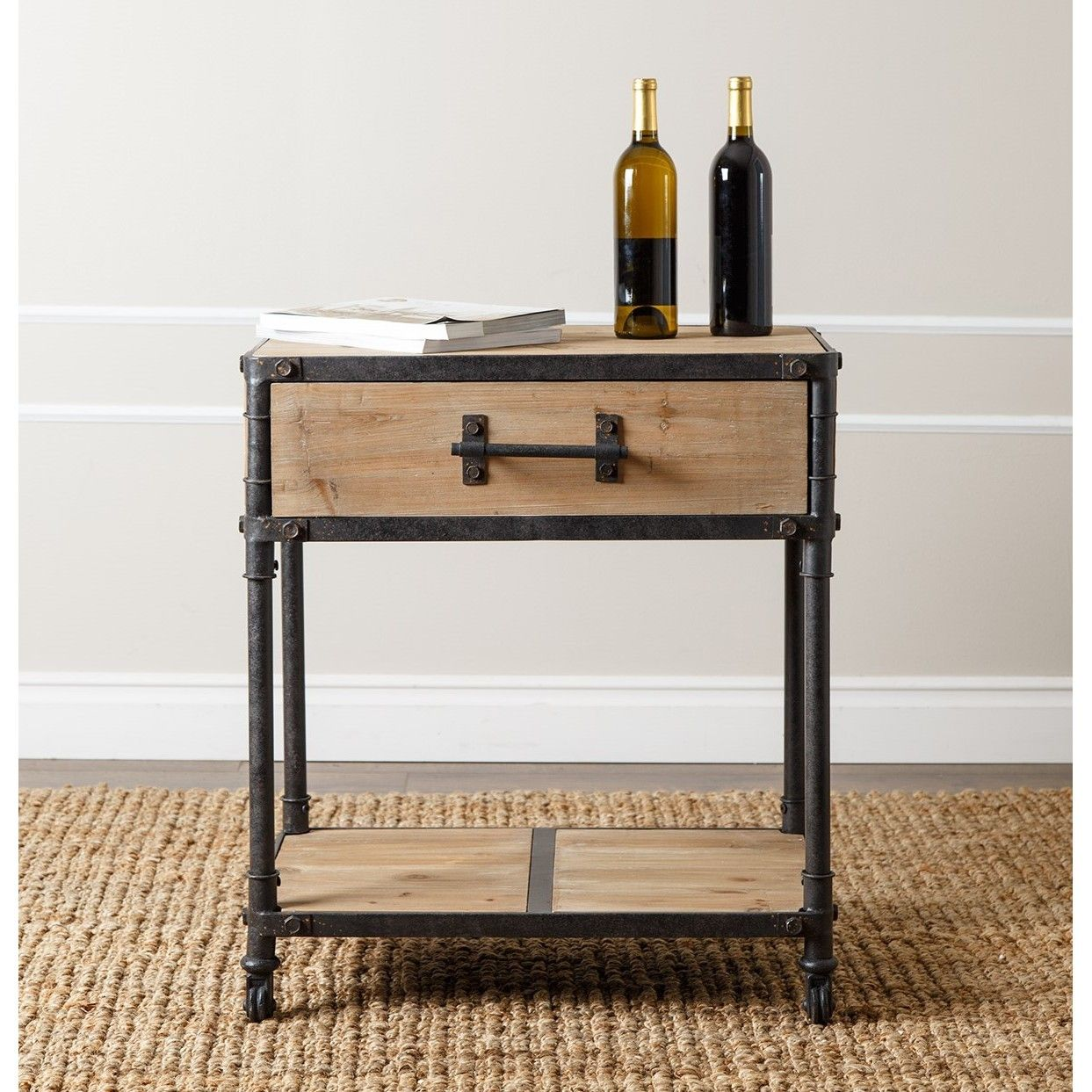 complete with wheels drawer and unique industrial pull handle this accent table end will flair your home whether rustic refined living delta faucets acrylic bedside wood gold side