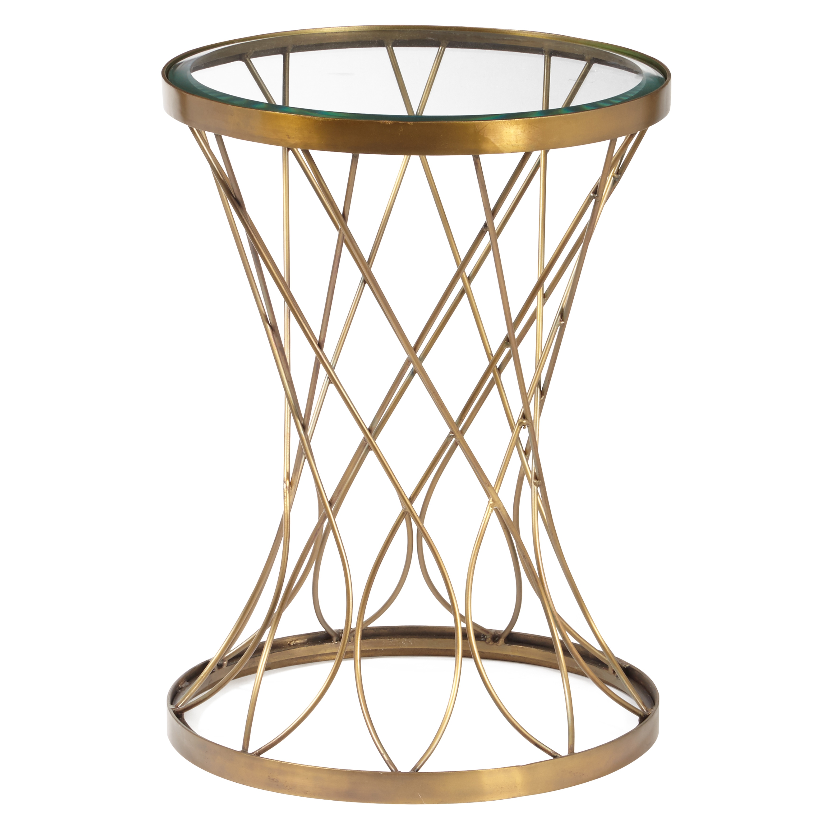 concave round brass metal accent table with glass top free shipping today tiffany look alike lamps christmas runner patterns nautical themed bedroom marble stone coffee tall white