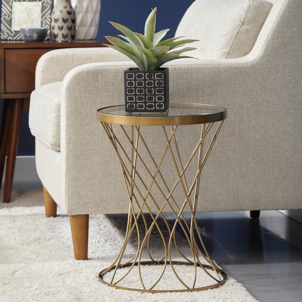 concave round brass metal accent table with glass top master new home decoration rattan outdoor furniture clearance tablette bunnings couch legs college dorm accessories canvas