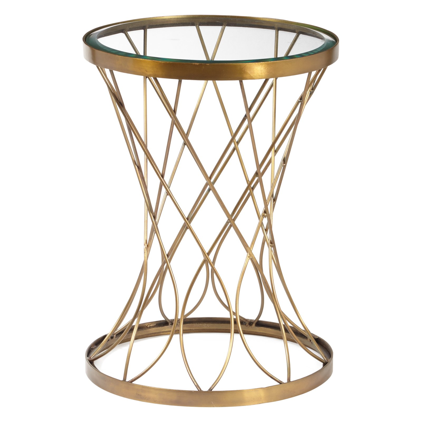 concave round brass metal accent table with glass top scale wisteria lamp entryway bench mirage mirrored elastic covers timber side outdoor furniture nautical childrens foyer