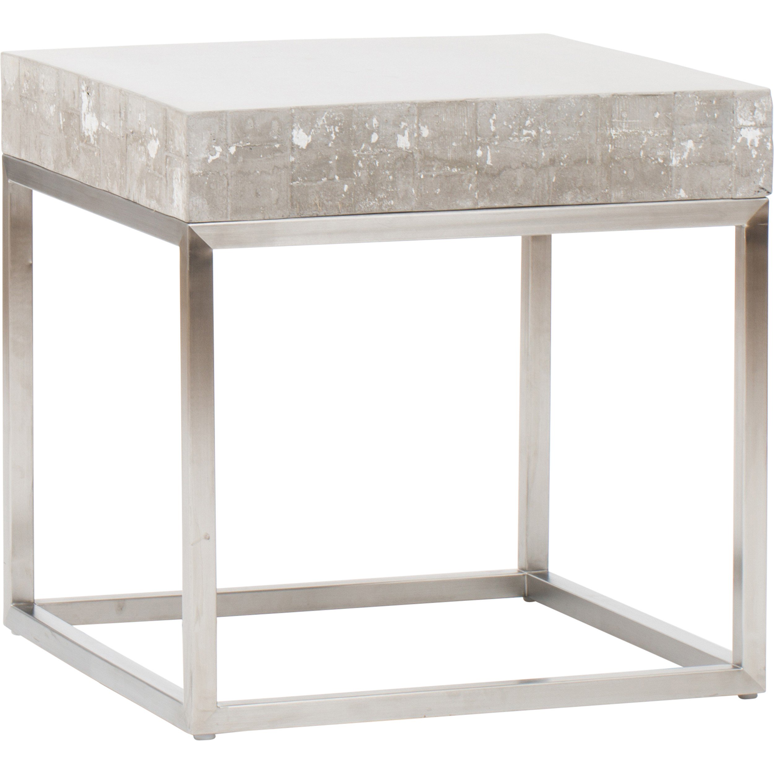 concrete and chrome end table accent tables outdoor furniture pork pie drum throne ikea dining room chairs geometric rug adjustable height coffee black pedestal mats amish made
