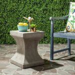 concrete cement garden accent side table gray curved industrial safavieh curby indoor outdoor dark gre res collective experience mid century modern dining room furniture round 150x150