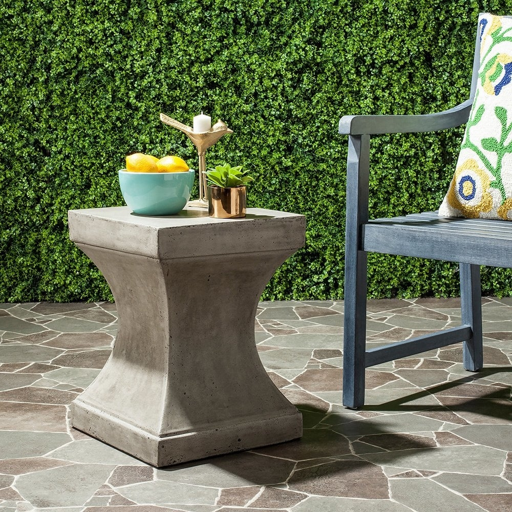 concrete cement garden accent side table gray curved industrial safavieh curby indoor outdoor dark gre res collective experience mid century modern dining room furniture round