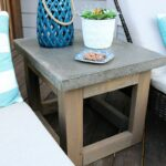 concrete wood outdoor side table diy patio accent bower power wooden trestle cloth target base black wrought iron coffee with glass top rattan sets clearance umbrella hole mini 150x150