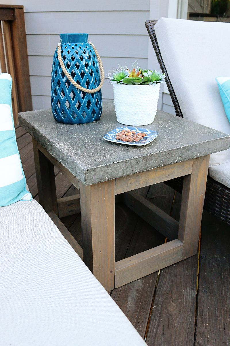 concrete wood outdoor side table diy patio with drawer bower power pottery barn desk chair piece coffee sets under cast iron frame metal glass top black and white marble dining