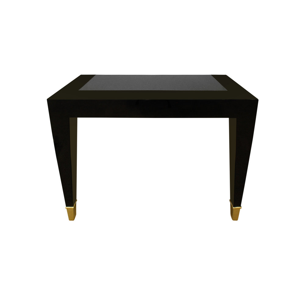 console lobel modern nyc pace blk lqr brassboots stone black lacquer accent table with inset granite top and brass sabots urban home furniture dining behind couch coffee ideas