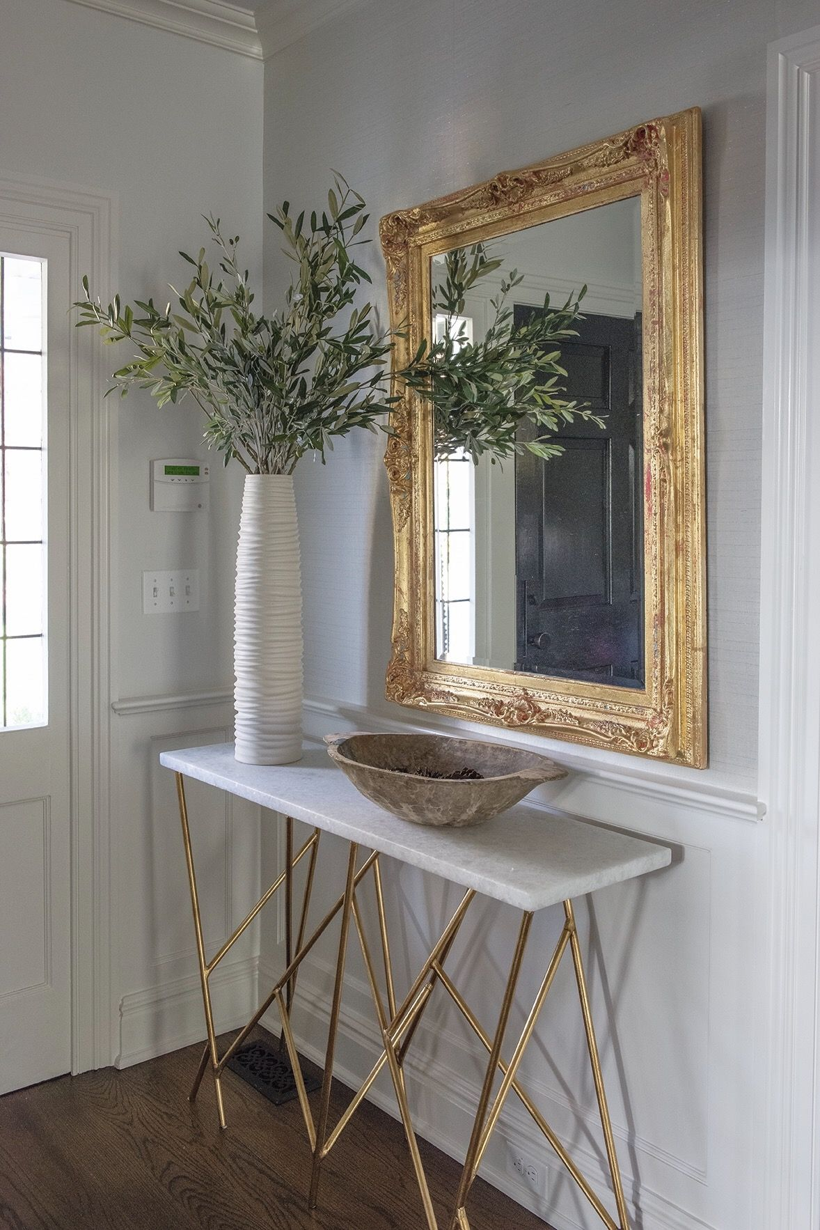 console table foyer gold accent mirror carrie mccall design sliding barn door for dining room mirrored coffee set small metal end danish mid century modern circular patio cover