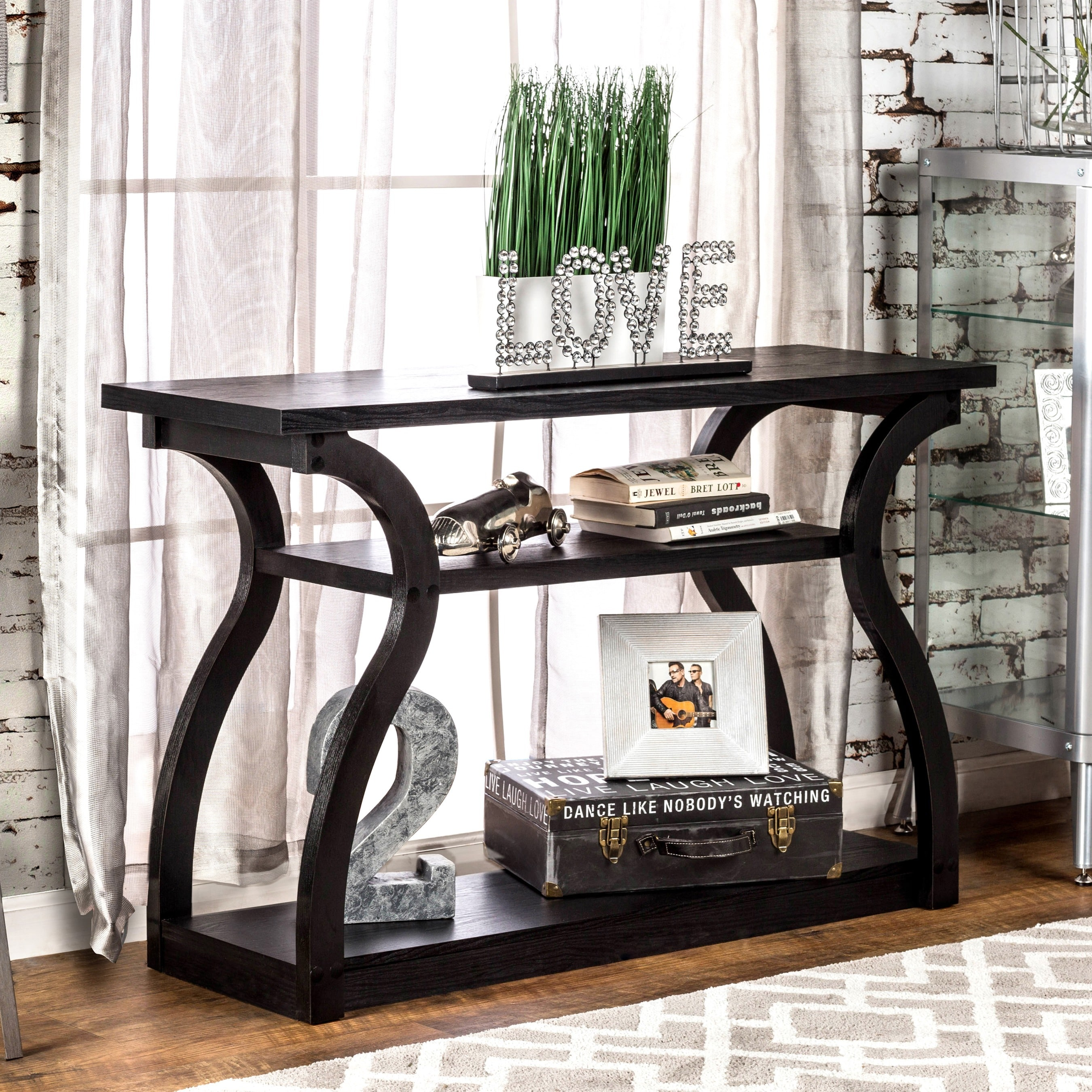 console tables for entryway hallway accent sofa shelf modern long furniture america sara black finish table kitchen chairs navy end piece coffee marble top dining set nautical