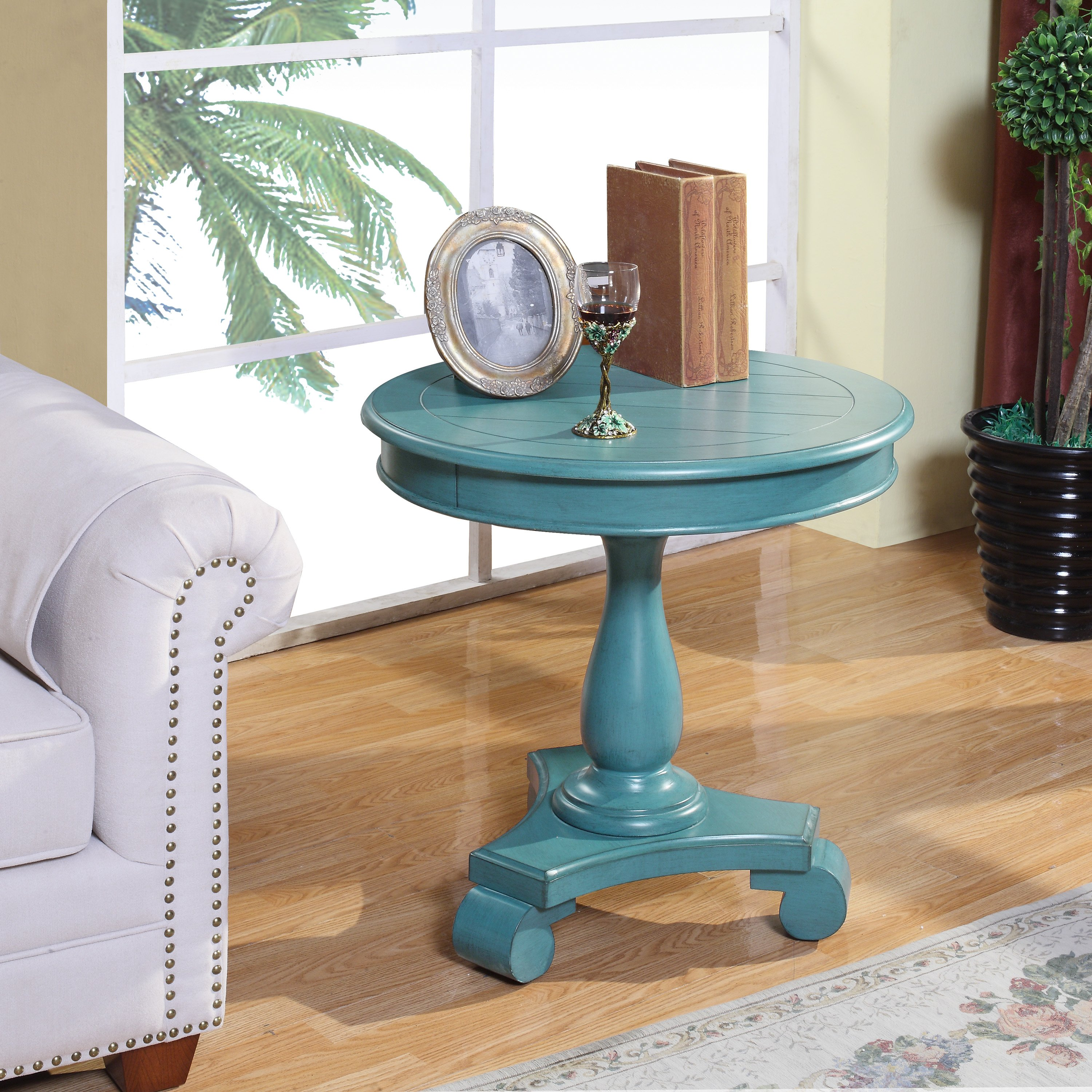 constance aqua round accent table furniture place blue chair cushions gold mirrored nightstand threshold transition patio bistro set elegant dining room sets silver drum side