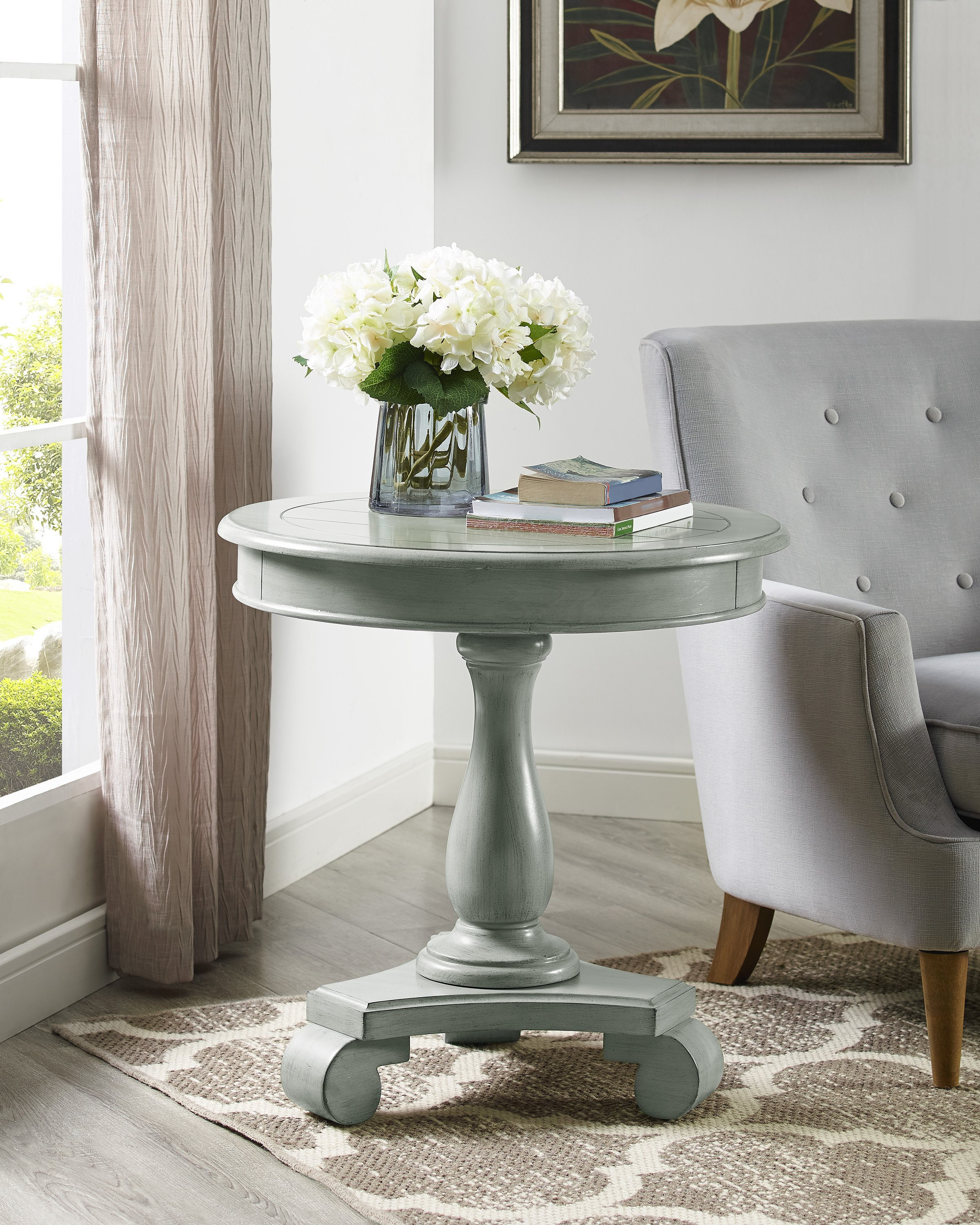 constance gray round accent table furniture place target wicker chairs bourse black iron bedside modern pedestal west elm glass floor lamp linen tablecloth marble with dining room