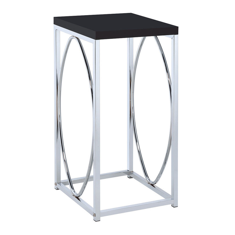 contemporary accent side table small stand high gloss black top base details about chrome outside chair covers gray and white chairs nautical pendant lights pottery barn farm
