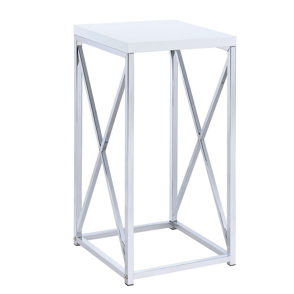 contemporary accent side table small stand high gloss white top base details about chrome unusual end tables oak patio dining room sets with bench rechargeable lamps for home