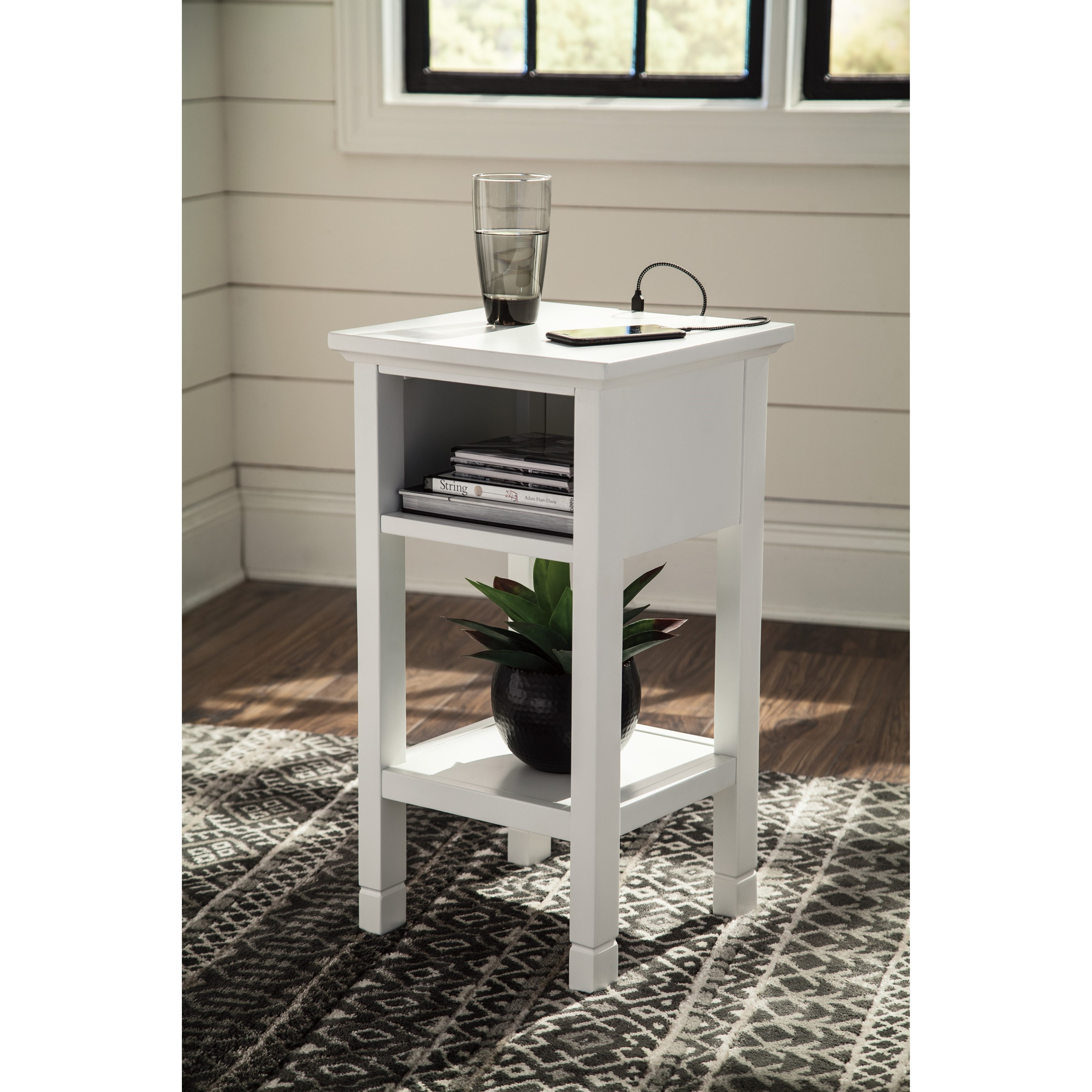 contemporary accent table with cubby shelf signature design products ashley color marnville tables carpet edge strip floor threshold transitions distressed console coffee drawers