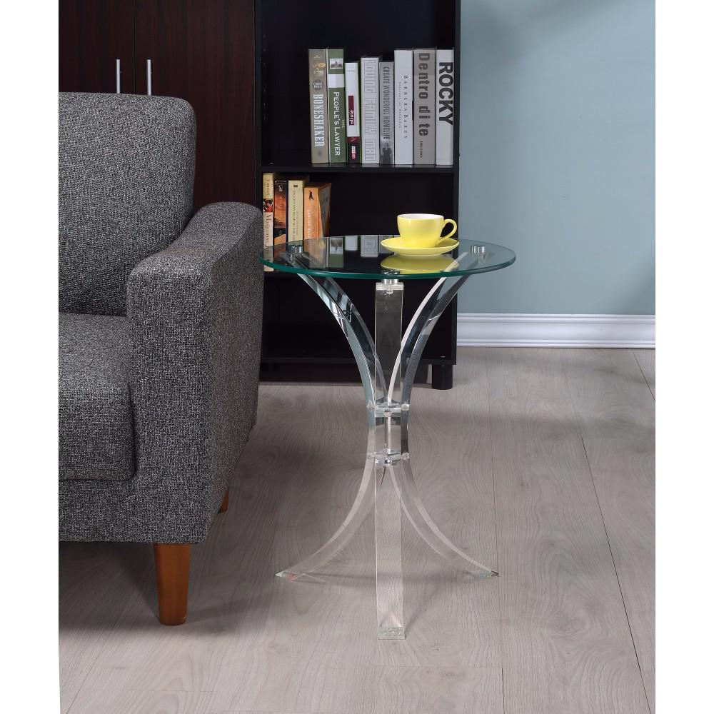 contemporary acrylic accent table with glass top clear semi circle side small stand patio steel legs mid century modern lamps wedding covers coffee tables storage wooden grill