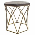 contemporary and artistic the threshold metal hexagon table with accent wood top brings decadent air your space this sculptural piece home furniture italian decor thin sofa patio 150x150