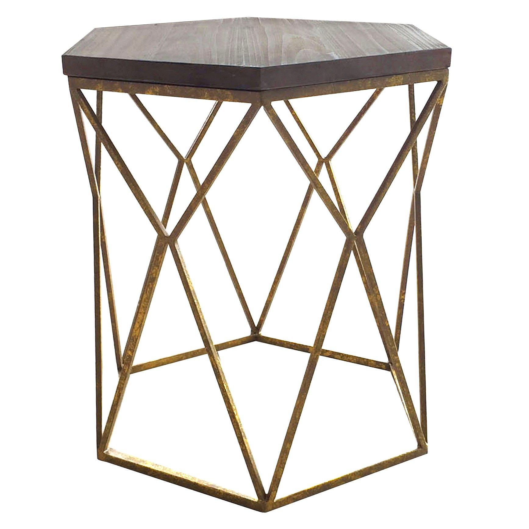 contemporary and artistic the threshold metal hexagon table with accent wood top brings decadent air your space this sculptural piece home furniture italian decor thin sofa patio