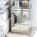 contemporary bedroom with drawer lucia mirrored bedside table and light grey upholstered frame white faux fur area rug alarm clock accent target originalviews occassional bunnings 150x150