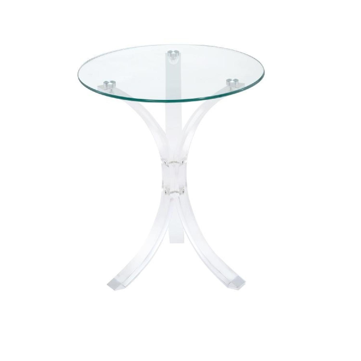 contemporary clear round glass top accent table aptdeco frame tablecloth for oak wood side outdoor lounge chairs dale tiffany hummingbird lamp west elm free shipping code parsons