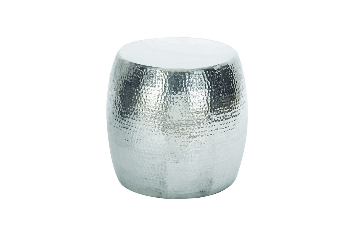 contemporary drum stool accent table silver gardner white cylinder from furniture bar bistro ashley center industrial metal end west elm buffet patio toronto black marble top